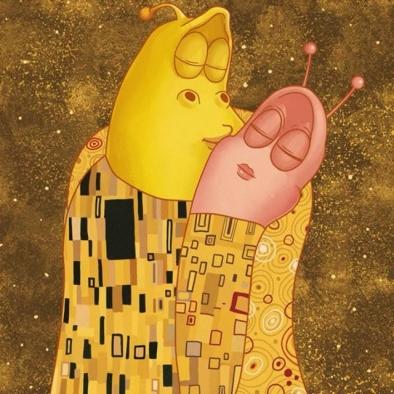 Nothing better than a kiss with her💕 – 하루 중 가장 행복한 이 순간😍 – #kiss #love #klimt #anime #comic #comics #larva #kculture #TUBAn #키스 #사랑 #클림트 #명화 #애니메이션 #애니 #만화 #옐로우 #레드 #라바 #투바앤